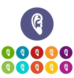 Ear set icons vector