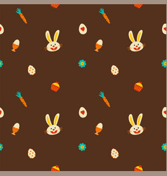 easter decorative elements pattern seamless brown vector image