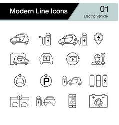 Electric car icon set 1 hybrid vehicle symbol vector