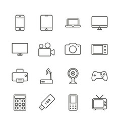 Electronic device set icon outline technol vector