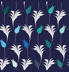 Elegant iznik style tulips seamless pattern vector