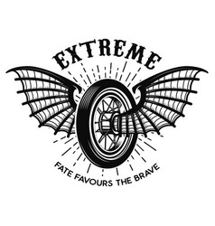 Extreme motorcycle wheel with bat wings design vector