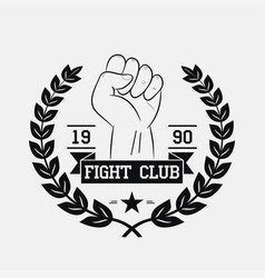 Fight club logo with fist wreath star ribbon vector
