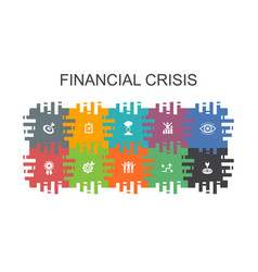 Financial crisis cartoon template with flat vector