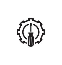 Fine tuning icon gear and screwdriver service vector