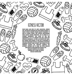Fitness frame circle white and black vector