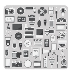 flat icons camera set vector image