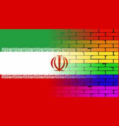 Gay rainbow wall iranian flag vector