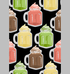 glass square cups milkshakes with whipped cream vector image