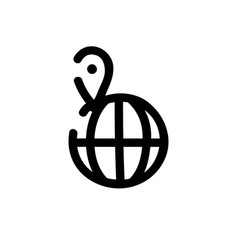 globe icon hand drawn line symbol vector image