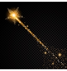 Gold glittering star dust trail sparkling vector