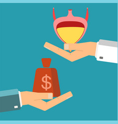 hand patient with money and a bladder in vector image