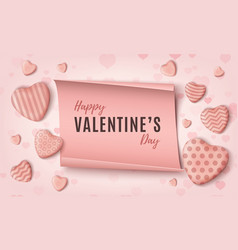 happy valentines day background template with pink vector image