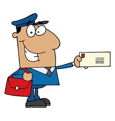 Hispanic Mail Man Holding A Letter vector