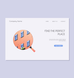 homepage rental service landing page with vector image