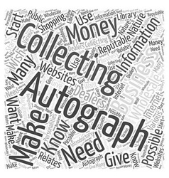 How to Make Money Autograph Collecting Word Cloud vector
