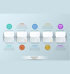 Infographic design template with 5 squared paper vector