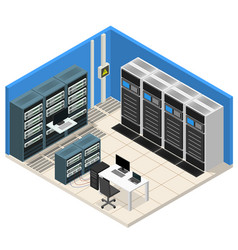 Interior server room isometric view vector