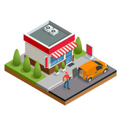 Isometric fast food restaurant or shop buildings vector