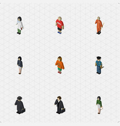 isometric people set of guy girl investor and vector image