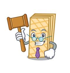 Judge waffle mascot cartoon style vector