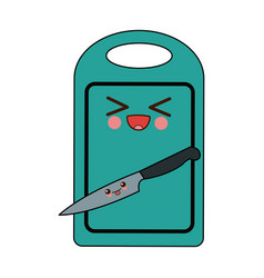 kawaii cutting board and knife cartoon vector image