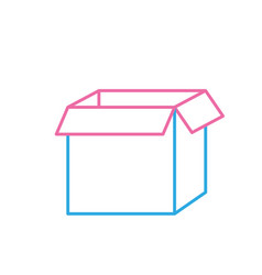 Line square box package open design vector