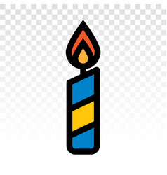 Lit candle flat icon for apps and websites vector