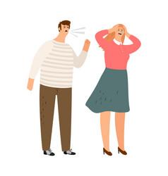man screams family abusing vector image