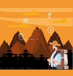 man tourist in landscape with set icons vector image