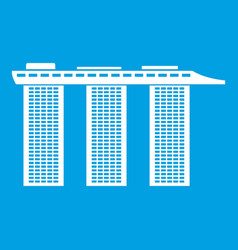 Marina bay sands hotel singapore icon white vector