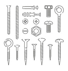 Monoline pictures of bolts nuts nails and screws vector
