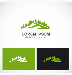mountain forest tree logo vector image
