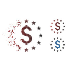 Moving pixel halftone dollar stars icon vector