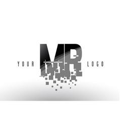 Mr m r pixel letter logo with digital shattered vector