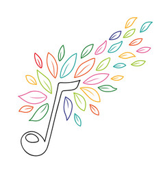 music note with outline nature leaves concept vector image