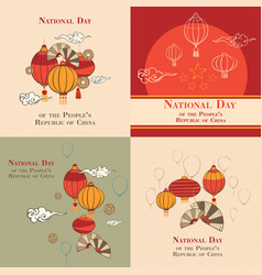 National day in china banner set cartoon style vector