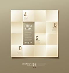 Origami sepia paper cuts square Infographic vector image