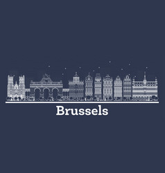 outline brussels belgium city skyline with white vector image