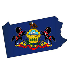 Pennsylvania outline map and flag vector