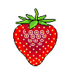 Pixel fresh strawberry fruit detailed isolated vector