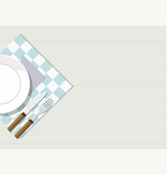 plate knife and fork on table vector image