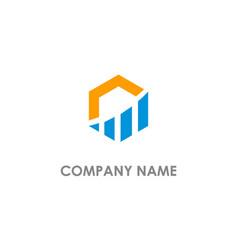 Polygon business graph logo vector