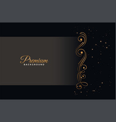 premium black background with golden floral vector image