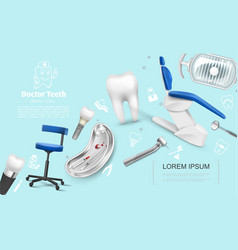 Realistic dentistry colorful template vector