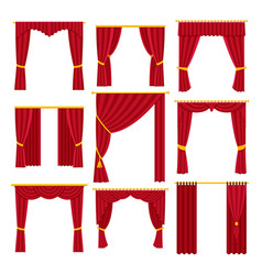 red curtains set flat vector image