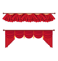 Red curtains set luxury silk curtain vector