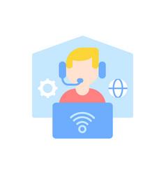 Remote workplace flat color icon vector