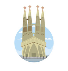 Sagrada familia tower in barcelona and landscape vector