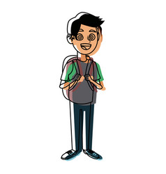 Schoolboy with a backpack student education vector
